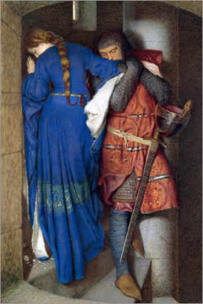 Print på træ  Meeting on the Turret Stairs - Frederic William Burton
