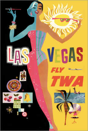 Print på træ  Las Vegas - Travel Collection