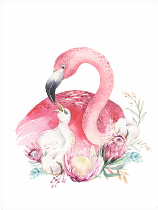 Lærredsbillede  Flamingo mom - Kidz Collection