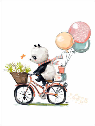 Galleritryk  Panda on a bike - Kidz Collection