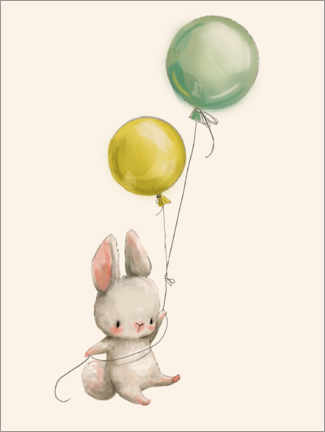 Print på aluminium  Bunny with balloons - Kidz Collection