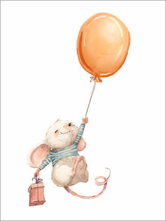 Akrylbillede  Mouse with balloon - Kidz Collection