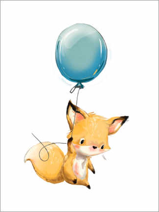 Akrylbillede  Little fox with balloon - Kidz Collection