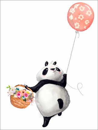 Premium-plakat Panda bear with balloon