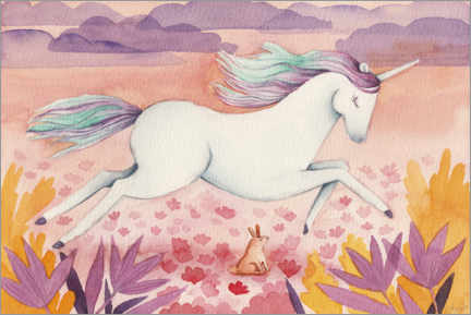 Lærredsbillede  Galloping unicorn - Michelle Beech