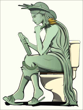 Lærredsbillede  Statue of Liberty on the toilet - Wyatt9