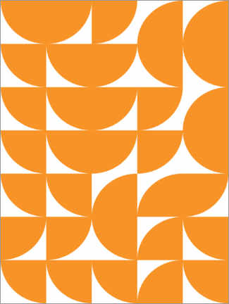 Premium-plakat  Geometry orange - apricot and birch