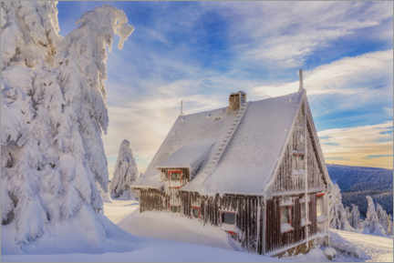 Lærredsbillede  Hut in the winter country - Moqui, Daniela Beyer