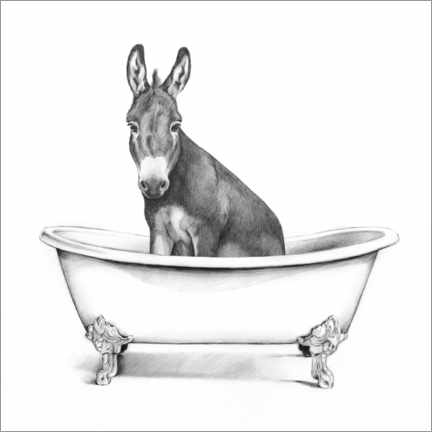 Galleritryk  Donkey in the tub - Victoria Borges