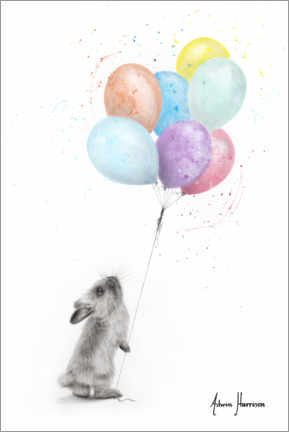Lærredsbillede  The Bunny and The Balloons - Ashvin Harrison
