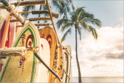 Akrylbillede  Surfboards in Hawaii - Road To Aloha