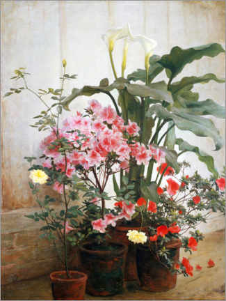 Galleritryk  Side of a greenhouse - George Cochran Lambdin