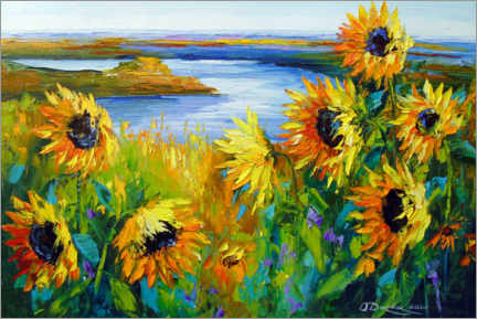 Akrylbillede  Sunflowers on the river - Olha Darchuk