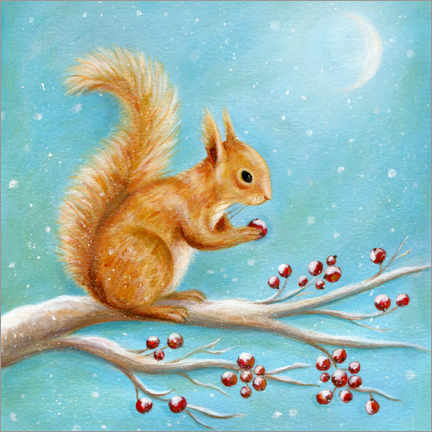 Akrylbillede  Squirrel with winter fruits - Ileana Oakely