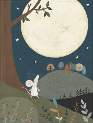 Lærredsbillede  The little mouse and the moon - Lucy Barnard