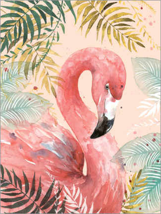 Lærredsbillede  Flamingo in the jungle - Di Brookes