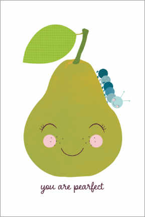 Premium-plakat Pear and blue caterpillar