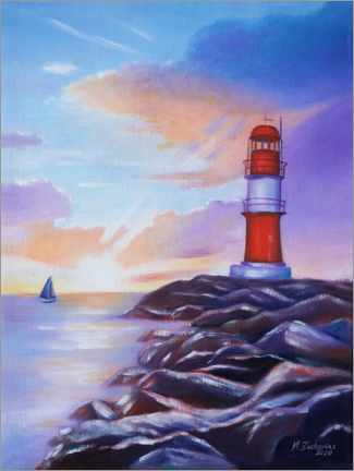 Akrylbillede  Sunrise at the lighthouse - Marita Zacharias