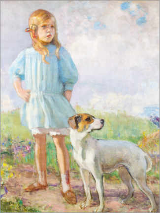 Premium-plakat Girl with a dog