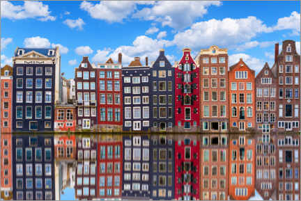 Premium-plakat Houses are reflected on the canal, Amsterdam