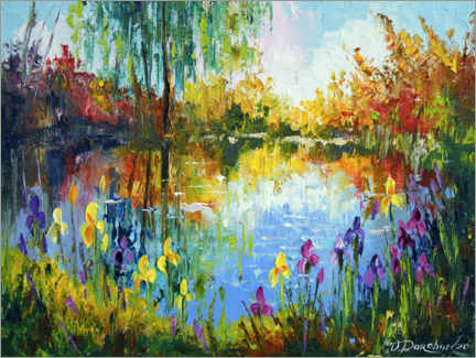 Akrylbillede  Irises by the pond - Olha Darchuk