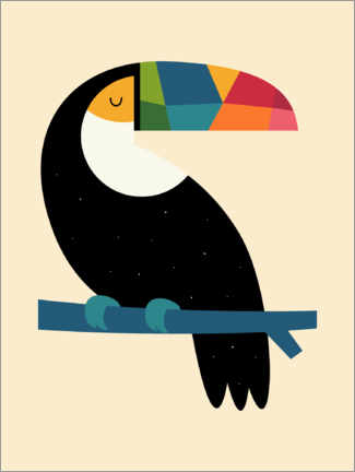 Print på træ  Rainbow Toucan - Andy Westface