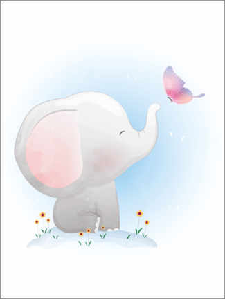Akrylbillede  Elephant and butterfly - Kidz Collection
