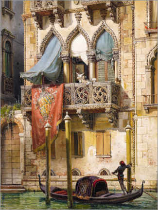 Print på træ  Palazzo Contarini in Venice (House of the Desdemona) - Friedrich Nerly