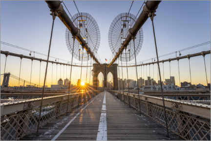 Akrylbillede  Sunrise on the Brooklyn Bridge - Jan Christopher Becke