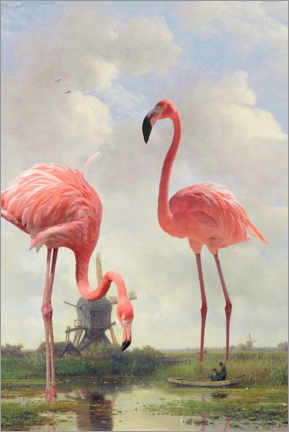 Lærredsbillede  Fishing with flamingos - Jonas Loose
