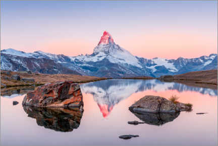 Lærredsbillede  Sunrise on the Matterhorn with alpenglow - Marcel Gross