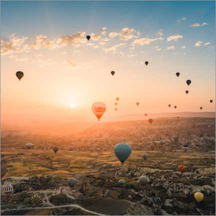 Akrylbillede  Balloon flight in sunrise over Cappadocia - Marcel Gross