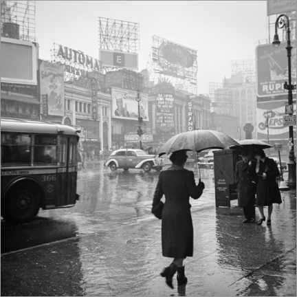 Akrylbillede  Times Square on a rainy day in 1944 - Christian Müringer