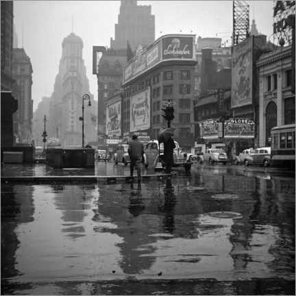 Akrylbillede  Times Square on a rainy day, 1943 - Christian Müringer