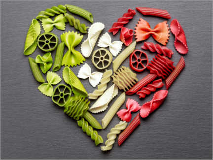 Lærredsbillede  Pasta heart with Italy flag colors - pixelliebe