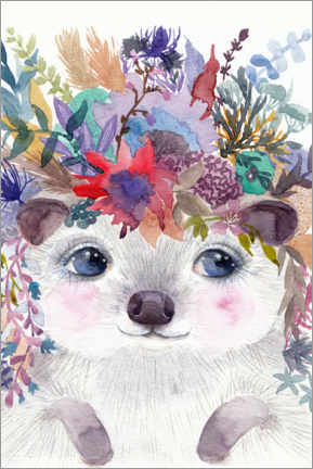 Lærredsbillede  Hedgehog with flowers - Daria NovArt