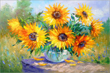 Akrylbillede  Bouquet of sunflowers in nature - Olha Darchuk