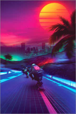 Premium-plakat  Synthwave Midnight Outrun - Denny Busyet