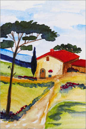 Print på aluminium  Country house in Tuscany - Christine Huwer