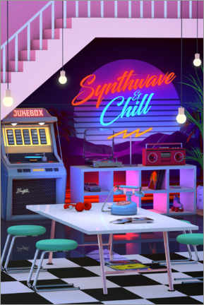 Akrylbillede  Synthwave And Chill - Denny Busyet