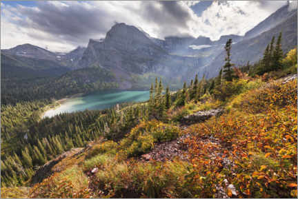 Selvklæbende plakat  Turquoise mountain lake in the Rocky Mountains in autumn - The Wandering Soul