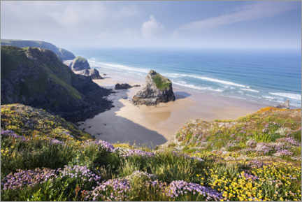 Print på aluminium  Wide beach with flowers in spring in England - The Wandering Soul
