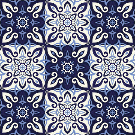 Premium-plakat  Pattern in Delft blue style