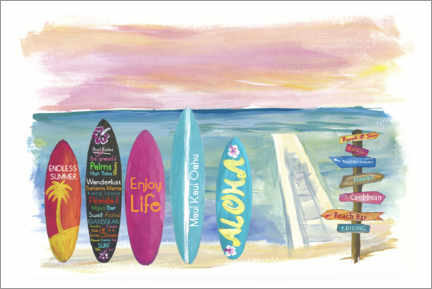 Premium-plakat Surfboards by the sea