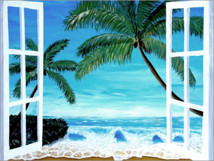 Akrylbillede  Window with a view of the Caribbean beach - M. Bleichner