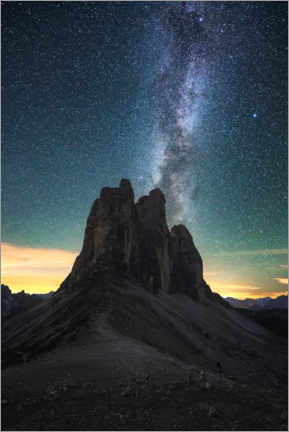 Print på træ  Milky Way over the Three Peaks, Dolomites - Matthias Köstler