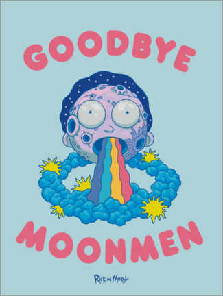 Selvklæbende plakat  Rick and Morty - Goodbye Moonmen