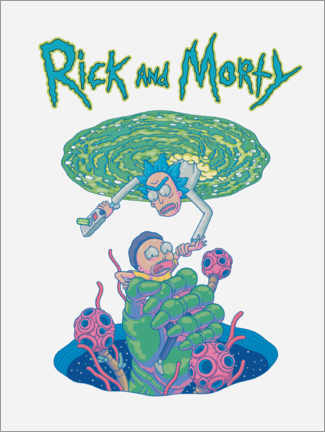 Selvklæbende plakat  Rick and Morty Portal