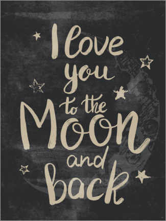 Selvklæbende plakat  I love you to the moon and back - Olga Telnova
