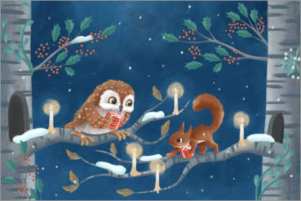 Premium-plakat Owl and squirrel exchanging gifts